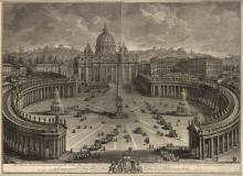 GIUSEPPE VASI Two etchings of St. Peter's Basillica and the Vatican.