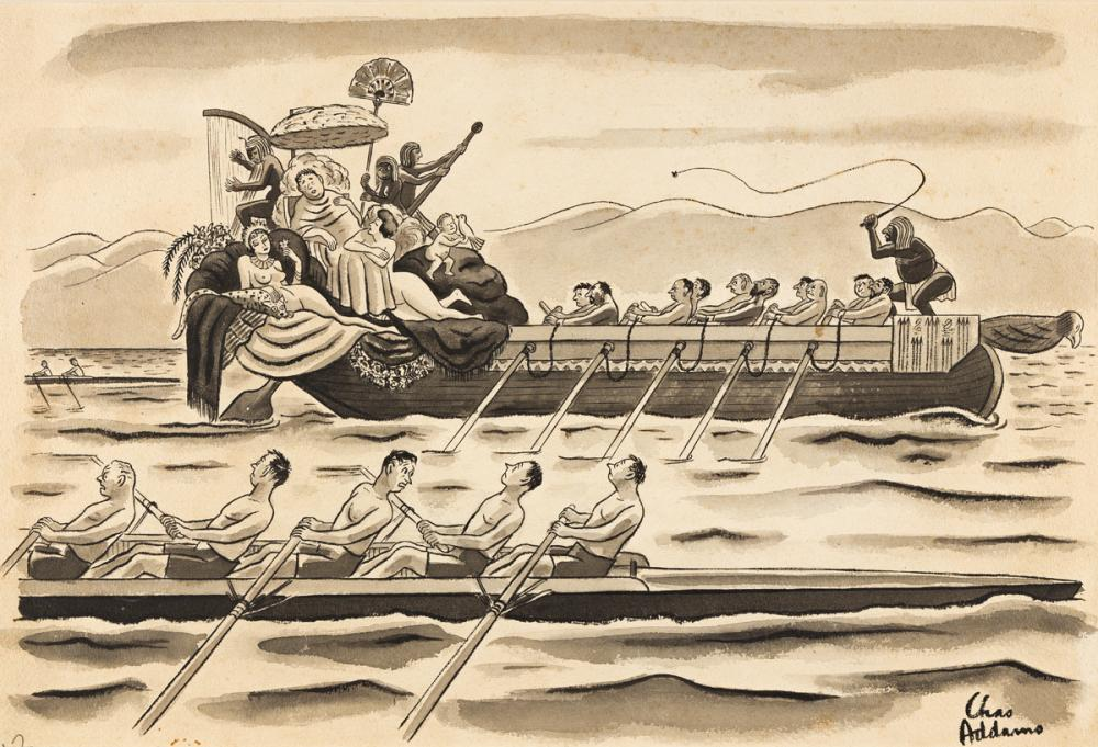 """CHARLES ADDAMS (1912-1988) """"I imagine it's the University of Southern California."""" [NEW YORKER / CARTOONS]"""