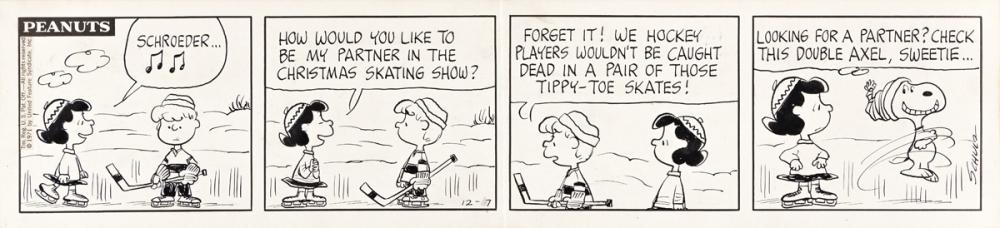 """CHARLES SCHULZ (1922-2000) """"Schroeder, how would you like to be my partner in the Christmas Skating show?"""" [COMICS / PEANUTS]"""