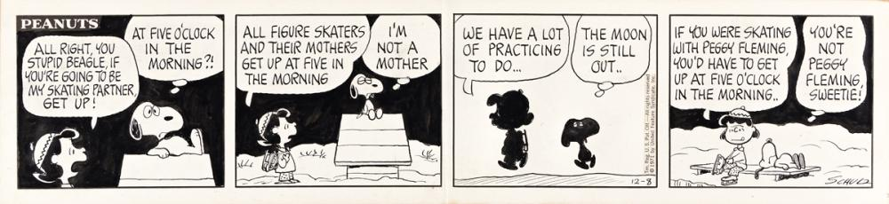 """CHARLES SCHULZ (1922-2000) """"All right, you stupid beagle, if you're going to be my skating partner, get up!"""" [COMICS / PEANUTS]"""