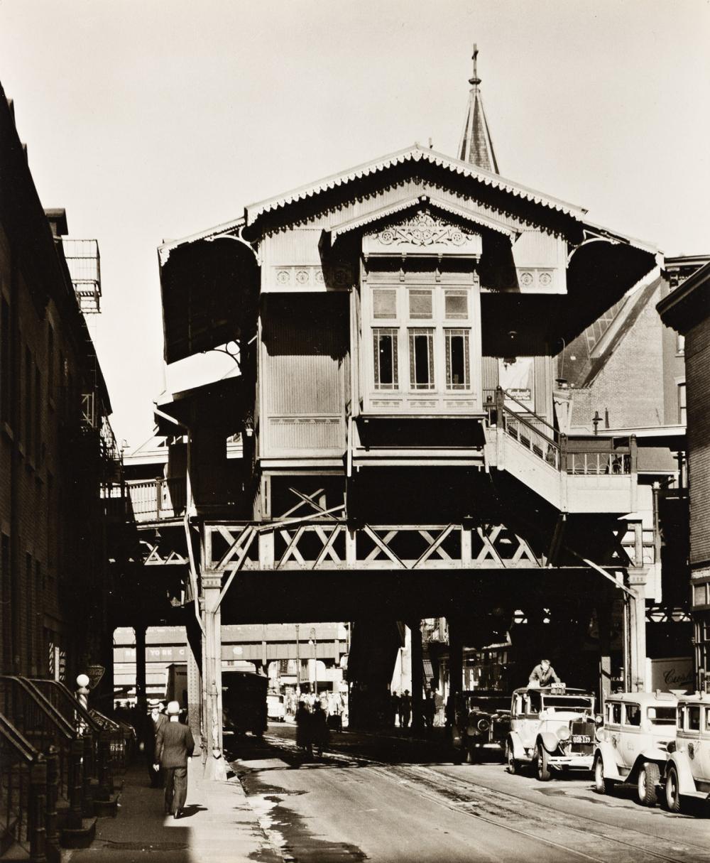 "BERENICE ABBOTT (1898-1991) ""El"" Station, 9th Avenue Line, Christopher Street."
