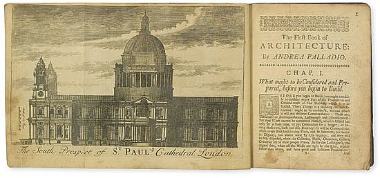 (ARCHITECTURE.) Palladio, Andrea. The First Book of Architecture . . . Twelfth Edition, Corrected and Enlarged, with a New Model of th