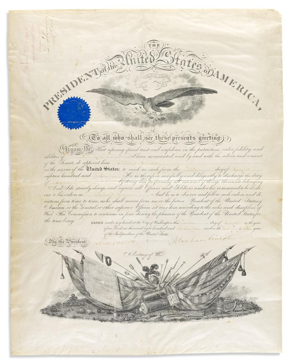 (CIVIL WAR.) LINCOLN, ABRAHAM. Partly-printed vellum Document Signed, military commission appointing Lewis H. Eastman Assistant Surgeon