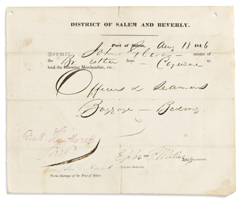 """HAWTHORNE, NATHANIEL. Two items, each Signed """"Nath. Hawthorne / Surveyor"""": Partly-printed Document * Clipped Signature."""