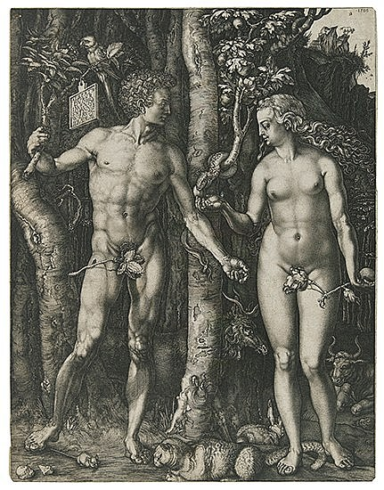 JOHANNES WIERICX (after Dürer) Adam and Eve.  Engraving, 1566