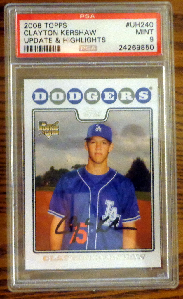 Psa 9 2008 Clayton Kershaw Topps Update Rookie Card Uh240 Mint