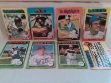 1975 Topps Baseball Card Lot with Brooks Robinson, Hank Aaron, Reggie Jackson