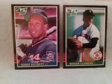 Roger Clemens and Kirby Puckett 1985 Donruss Leaf Rookie Cards