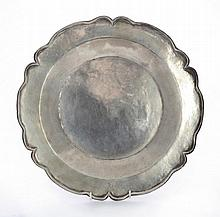 A South American silver dish, unmarked, possibly