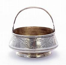 A Russian silver swing handled sugar basket,