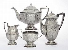 An Indian silver four-piece tea and coffee