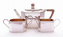 A silver three-piece tea set, by Roberts & Belk,