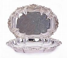 A pair of silver entrée dishes, by C S Harris &