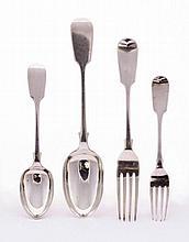 A Victorian silver fiddle pattern flatware
