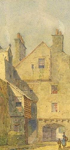 Louis Absolon (fl. 1872-1889) 'OLD EDINBURGH' A pair, both inscribed verso, watercolour 22 x 10.5cm (2)