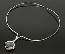 A Finnish sterling silver moss agate pendant, by