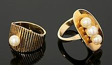 A Continental cultured pearl ring, c.1970, with