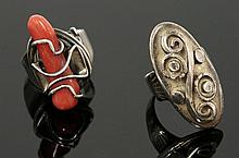 An American sterling silver coral ring, Attributed