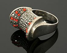 A sterling silver marcasite ring, c.1940, of