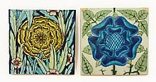 A William de Morgan tile, 1882-1888, of a rose,