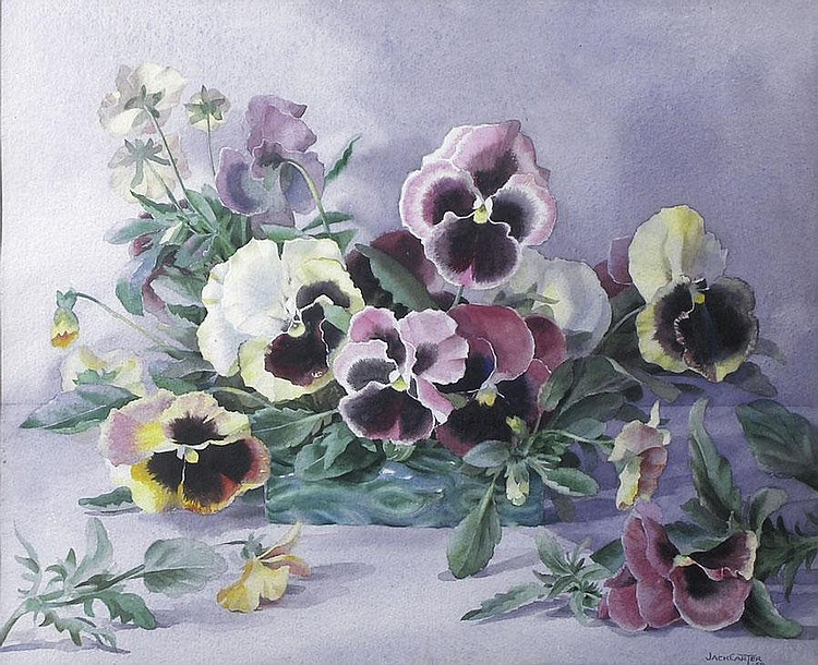 Jack Carter (1912-1992) STUDY OF PANSIES IN A