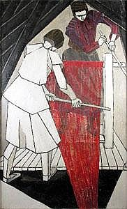 Rachel Reckitt (1908-1995) WOMEN WEAVING Oil on