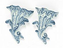 A pair of blue and white delftware Wall Pockets,