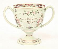 A Staffordshire pearlware Loving Cup, dated 1799,