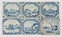 Six Liverpool blue and white delftware Tiles, mid