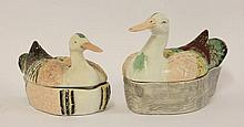 A pair of Staffordshire Duck Tureens and Covers,