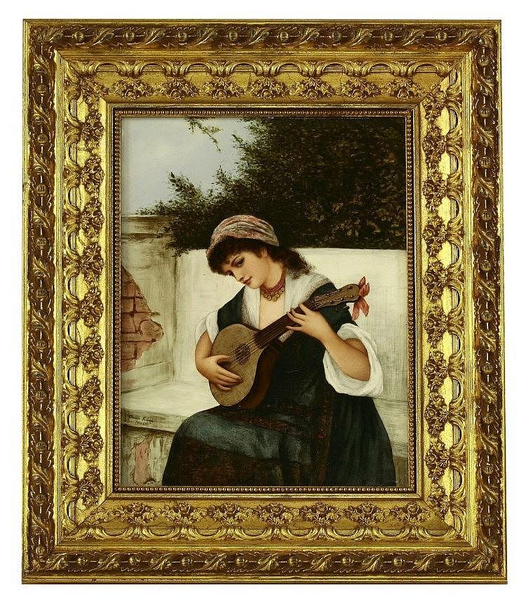 An earthenware Plaque, 1884, by Bessie Gilson,