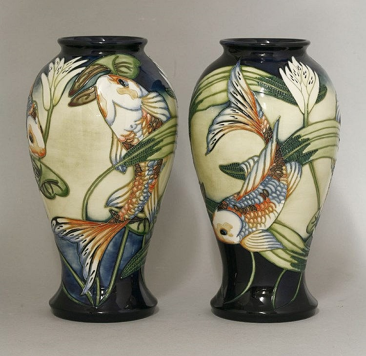 A Pair Of Moorcroft 39 Quiet Waters 39 Pottery Vases