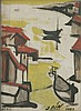 *Jose Fin (Jos' Vilat¢ Ruiz) (Spanish, 1916-1969)   COMPOSITION WITH BOATS AND BUILDINGS   S, J. Fín, Click for value
