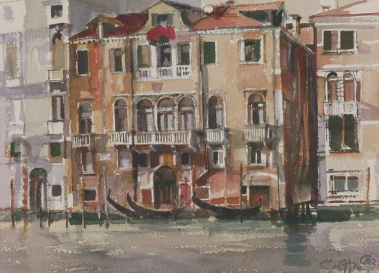 *Geoffrey Humphries (b.1945)  A VENETIAN CANAL  Signed and dated '07, watercolour  47 x
