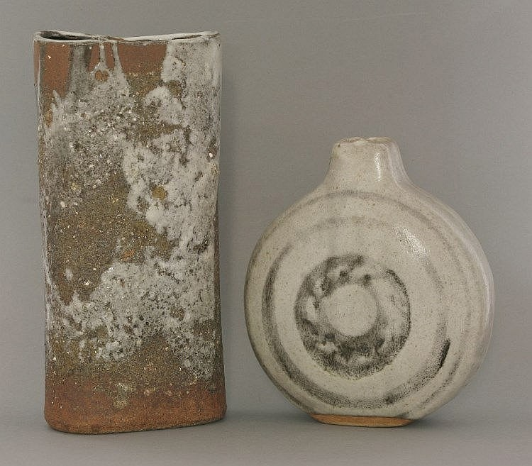 A Janet Leach Stoneware Slab Vase With A Grey Green And Lig
