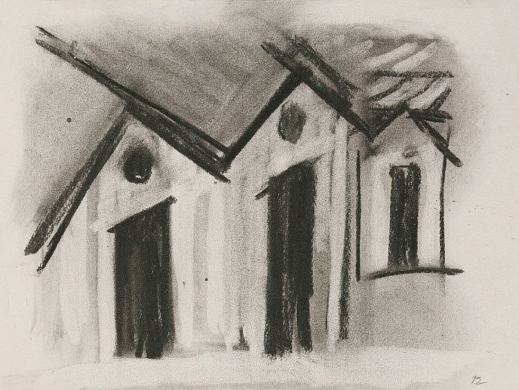 *Brian Blow (1931-2009)  STUDIES OF BUILDINGS  Two, charcoal   both 23 x 30.5cm;  an