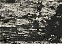 *Sam Sturis (Latvian, b.1971) 'WALL I', 1999 Signed l.r., charcoal on gessoed board 5