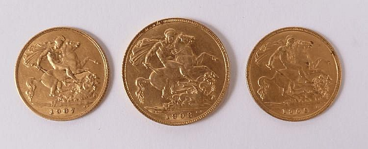 An Edwardian gold sovereign, 1908 and two half
