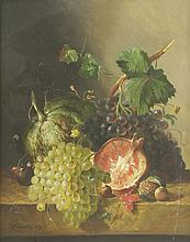 François Joseph Huygens (Belgian, 1820-1908) STILL LIFE OF A MELON, A POMEGRANATE, GRAPES, NUTS AND ...
