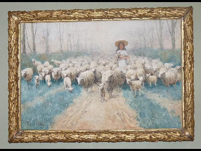 Edward van Goethem, (1857-1924) Girl with Flock of