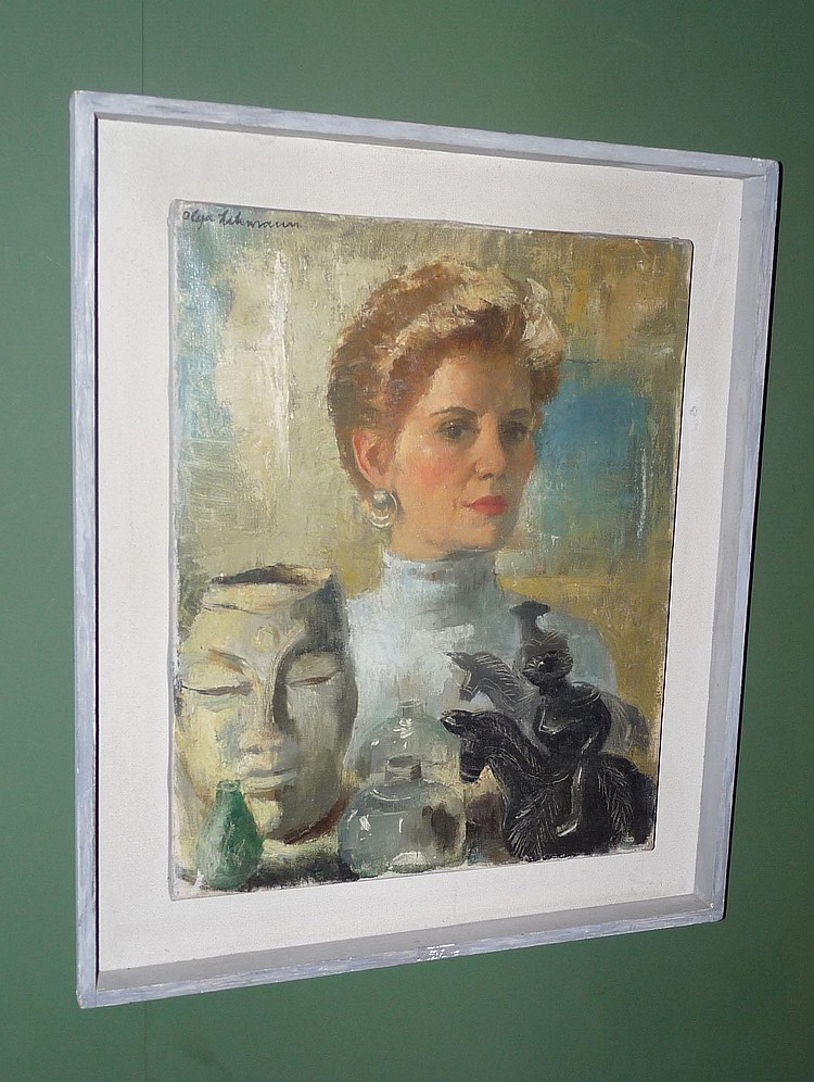 Olga Lehmann, Self Portrait, signed, oil on canvas