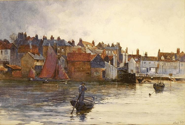 Arthur Legge (1859-1942) WHITBY HARBOUR Signed and