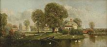 Nicholas Briganti (American/Italian, 1861-1944)A LANDSCAPE WITH HOUSES BY A POND, POSSIBLY IN MASSA