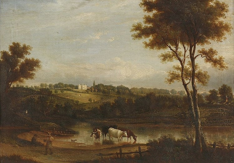 William McEwan (early 19th century)A LANDSCAPE WITH A VIEW OF A COUNTRY HOUSE, FIGURES AND CATTLE I