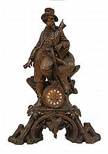 A Swiss Black Forest clock group, attributed to Johann Huggler, of a deer hunter with his prey, res