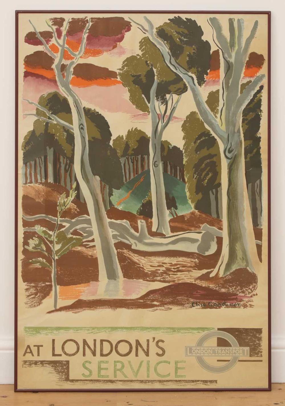 A London Transport poster: 'At London's Service',