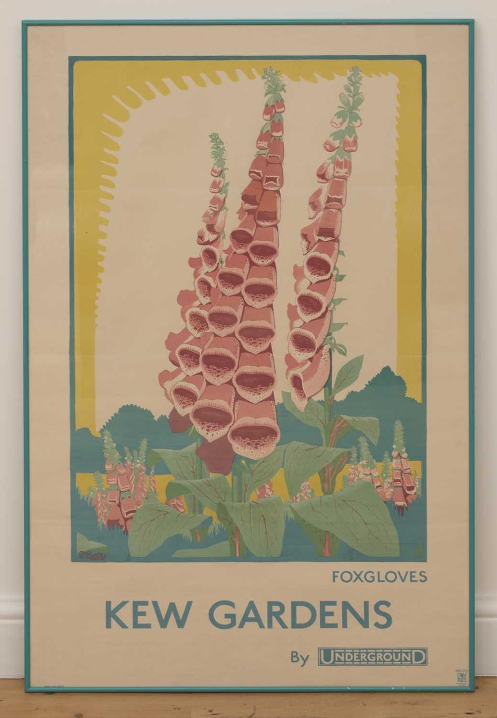 A London Underground poster: 'Foxgloves, Kew Gardens by Underground',