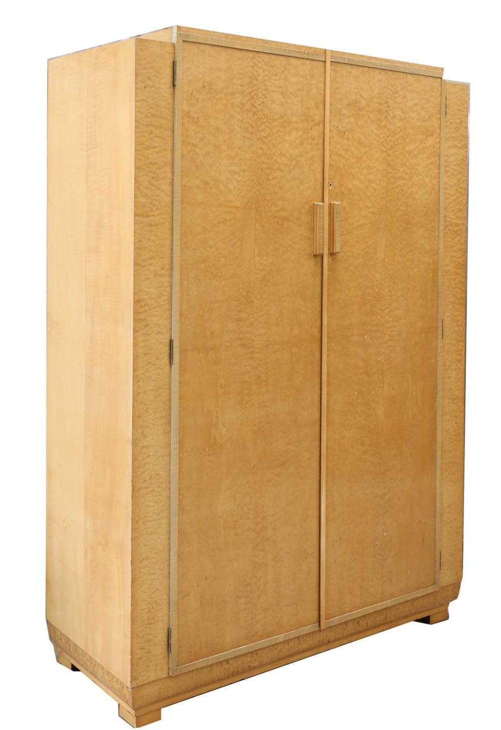 An Art Deco maple wardrobe,