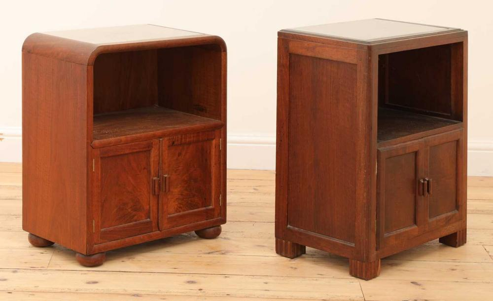 Two matched mahogany 'Token Works' bedside cabinets,