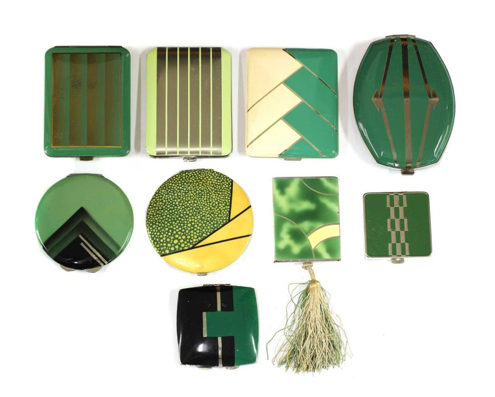 Nine Art Deco design green enamelled and coloured compacts,